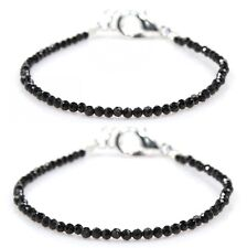 """PAIR Black Spinel Bracelet Faceted Children's Armband Baby 2 MM 5"""" Length Gifts"""