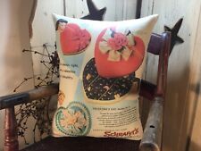 Vintage Style Valentine Heart Schraffts Candy Package Box Advertising Pillow