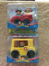 2 Fisher Price Little People Cheryl & Fire Truck And Maggi Figure W School Bus