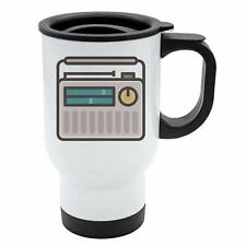 Geek Travel Mug - Portable Radio Transitor - Thermal - White Stainless Steel