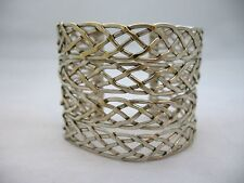 ESTATE SOLID MEXICAN STERLING SILVER 925  WIDE WIRE CUFF BRACELET