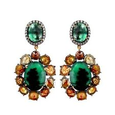 Emerald Gemstone Dangle Earrings Sterling Silver 11.48 Ct Diamond Pave 14 K Gold