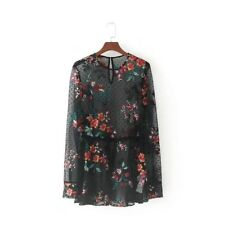 Womens Floral Embroidered Long Sleeve Drawstring Waist Tulle Blouse Tops Shirt