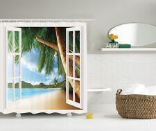 Palm Trees Ocean View Graphic Shower Curtain Tropical Sandy Beach Bath Decor