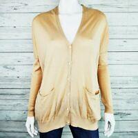 Haute Hippie Tan Silk/Cashmere Button-Up Cardigan Sweater Women's Small