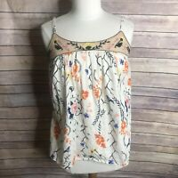 Anthropologie Edme Esyllte Sz Small Cream Orange Floral Embroidery Tank Blouse