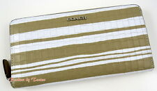 NWT Coach 51620 Bleeker Emb Woven Leather Acc Zip Around Wallet Fawn/White