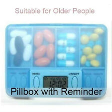 Portable Digital Pill Tablet Medicine Box Alarm 4 Modes with LCD Screen