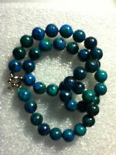 "Vintage 10mm azurite round gemstone necklace length 18 ""AAA"