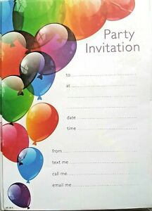 20x Childrens Kids Birthday Party Invitations Invites Sheets  Balloon Design