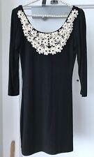 Sunny Girl Black Long Sleeve Bodycon Dress With Appliqué - Sz Small S BNWT