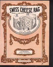 Swiss Cheese Rag 1913 Large Format Sheet Music