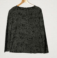 Ladies' Betty Barclay Semi Sheer Top Size 14 Black Grey Rose Print Smart Casual