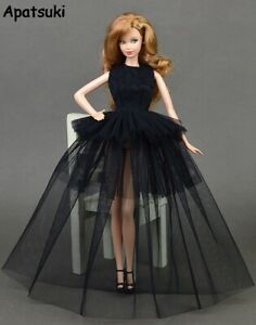 Black Little Dress Doll Dresses for 11.5in Dolls Clothes 1:6 Evening Gown Toy