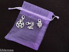 3 x Clip On Wiccan Bracelet Charms witch pentacle book of shadows pagan silver