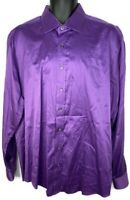 Bugatchi Uomo Men's 2XL XXL Shaped Fit Purple Long Sleeve Button Up Shirt Used