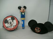 VINTAGE Disney Mickey mouse Club lot: Tambourine,Working Happy Lite, hat w/ears