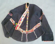 TRADITIONAL TRIBAL BLOUSE BLUE FABRIC w EMBROIDERY TEXTILE ASIAN VIETNAM ETHNIX