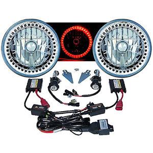 "7"" HID Red LED Halo Ring Angel Eyes Headlight 6000K 6K Light Lamp Bulbs Pair Img"