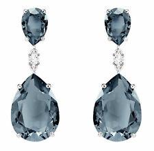 Swarovski Vintage Drop Pierced Women's Earrings - Teal, Rhodium Plated