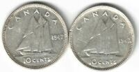 2 X CANADA TEN CENTS DIMES KING GEORGE VI 800 SILVER COINS 1947 1947ML