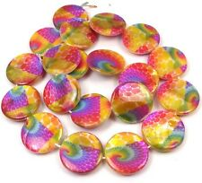 20mm Colorful Peacock Feather Mother Of Pearl Disc MOP Beads 15.5""