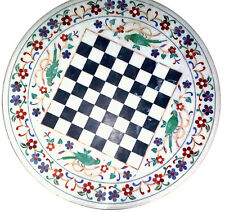 """18"""" Marble Chess Game Table Top Semi Precious Stones Inlay For Home Decor"""