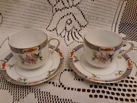 """Noritake Nippon """"M"""" Green Wreath Two Hand Painted Demitasse Cup & Saucer Sets"""