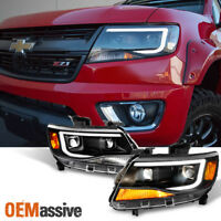 Fits [Black] 15 16 17 18 Chevy Colorado LED DRL Dual Square Projector Headlights