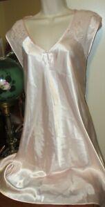 NWOT OSCAR DE LA RENTA Pink Label Charmeuse satin bias SHEER YOKE nightgown 1X