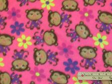 Pink Monkey Fleece Fabric by the Yard