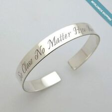Personalized Bracelet Sterling Silver Cuff Custom Engraved Unique Gift for Her