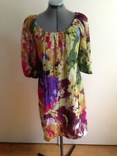Oleg Cassini Vintage Bold Multi Colored Textured Sheath Dress Sheer Sleeves 2