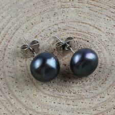 9mm Round Natural Black Pearl Gemstone Silver Stud Hook Earrings Holiday Gifts