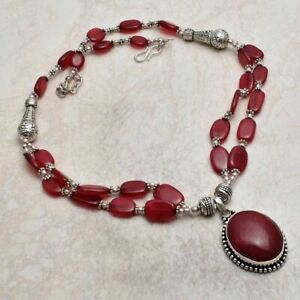 Ruby Ethnic Handmade Necklace Jewelry 63 Gms AN 4056