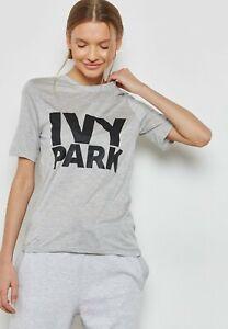 IVY Park  Beyonce Women Girl GREY ROUND Neck Short Sleeve LOGO T Shirt Top Tee