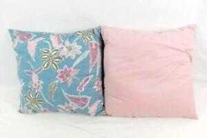 "Lot of 2 Outdoor Accent Pillows Pink Blue Tropical Floral Square 18"" x 18"""