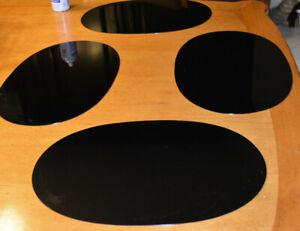 Set of 8 black oval acrylic vintage  Lucite PlaceMats MCM retro  Place mats