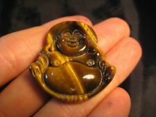 Natural  Tiger Tigers  Happy Buddha Pendant  Amulet stone carving  A32