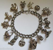 Vtg ENGLISH STERLING Silver SPOOKY Scary HALLOWEEN Charm Bracelet  55gms  7-3/8""