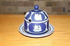 Antique Wedgwood Cobalt Blue Jasper Ware Mustard Dish With Underplate (c.1900)