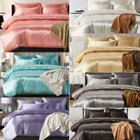 3Pcs Silk Bedding Set Solid Color Satin Quilt Cover Twin Queen King All Size