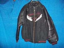 DAVOUCCI EAGLE LEATHER/WOOL JACKET SIZE XL BLACK RED 89 NY HARLEY MOTORCYCLE