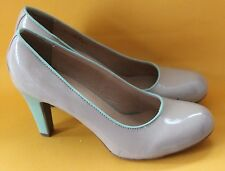Pumps 42 Damen Lacklederoptik beige grau braun mint pastell Absatz Graceland NEU
