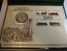 1975 John Pinches The Railway Sesquicentennial Medallic First Day Cover in Album