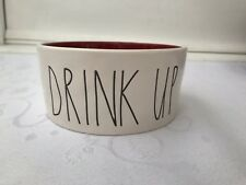Rae Dunn Drink Up Pet Bowl Red Inside Dog Cat Dish Ceramic Stoneware By Magenta