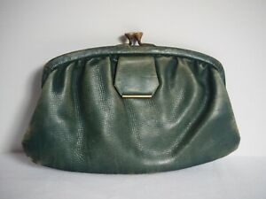 Flapper ANTIQUE 1920'S ? Handbag Clutch Leather Purse Green - Brand Washington
