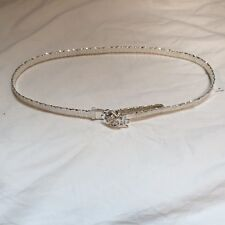 """Silver Mesh Belt with Rose Buckle - 33"""" Long"""