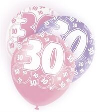 Pink Glitz 30th Birthday Age 30 Pack 6 Latex Party Balloons Suit Air Or Helium