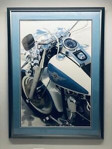 Vintage Blue and White Harley Davidson Motorcycle Print 37 x 28 Wall Art